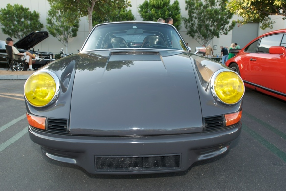 Porsche 911 RSR front shot, cars & coffee, yellow headlights