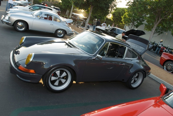 gray Porsche 911RSR,  cars&coffee, yellow glass headlights