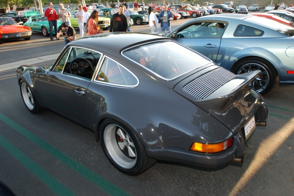 3/4 rear shot, cars & coffee, gray Porsche 911 RSR