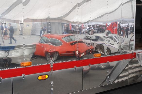 Brumos Porsche _transporter reflections _Rennsport Reunion 4_10/15/11