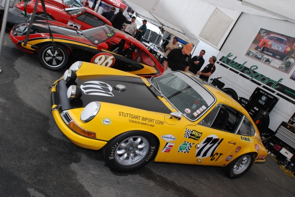 Porsche 911's in the paddock_Rennsport Reunion 4_10/15/11