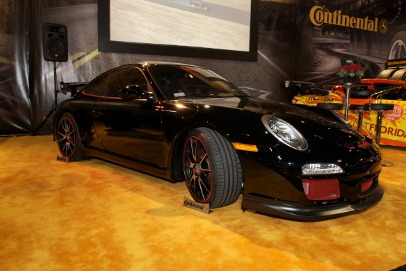 Brumos Porsche, Hurley Haywood signature model GT3_Continental tire display_The SEMA SHow_11/3/11