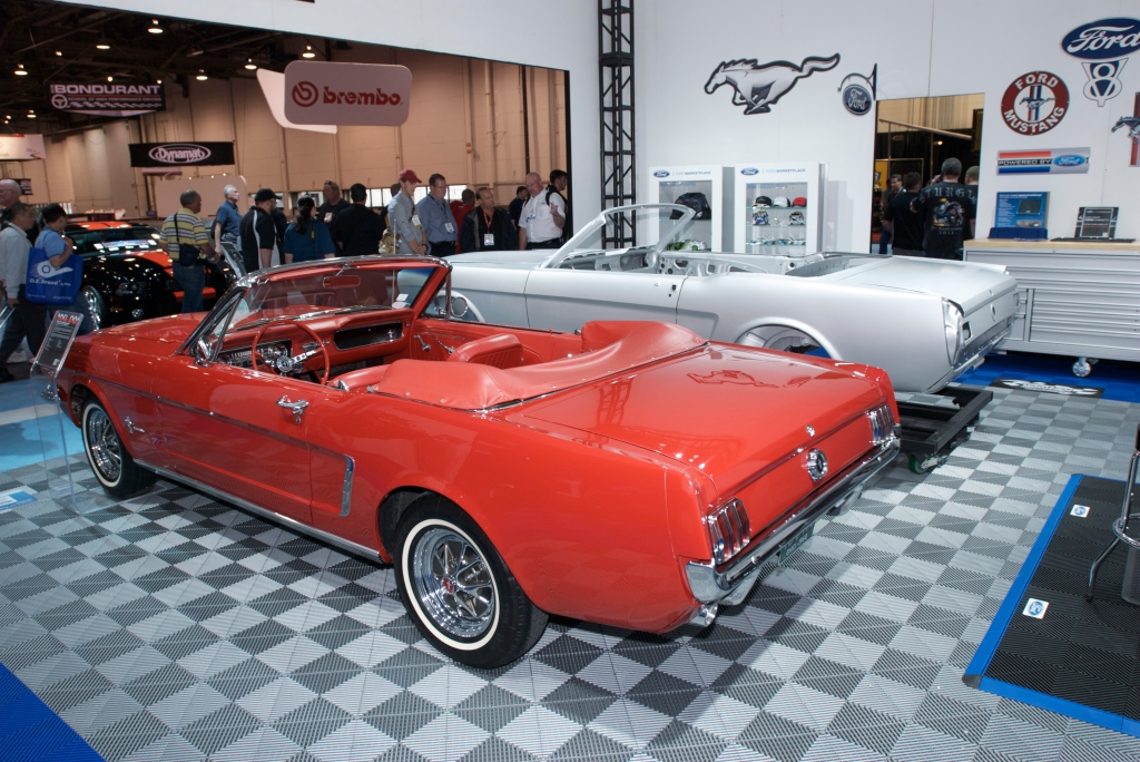 Restored 1964 1/2 red Ford mustang convertible & new 1964 mustang convertible body by Dynacor_Ford display_The SEMA Show 2011_11/4/11