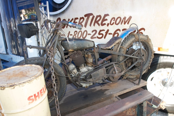 Coker Tire display_barn find motorcycle_The SEMA Show 2011_11/4/11