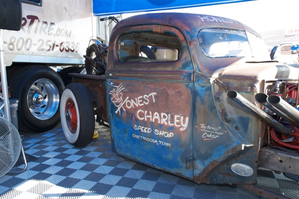 Coker Tire display_hot rod w/ barn find motorcycle_The SEMA Show 2011_11/4/11