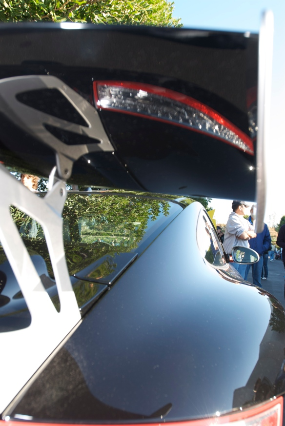 Black 2011 Porsche GT3RS 4.0_rear wing reflections_Cars&Coffee_11/26/11