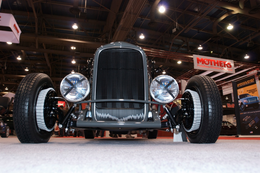 Gray, 1927 Ford roadster_front end _The SEMA Show 2011_11/4/11