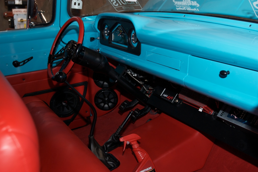 2 Brothers Custom Trucks, F-100 interior_The SEMA Show 2011_11/4/11