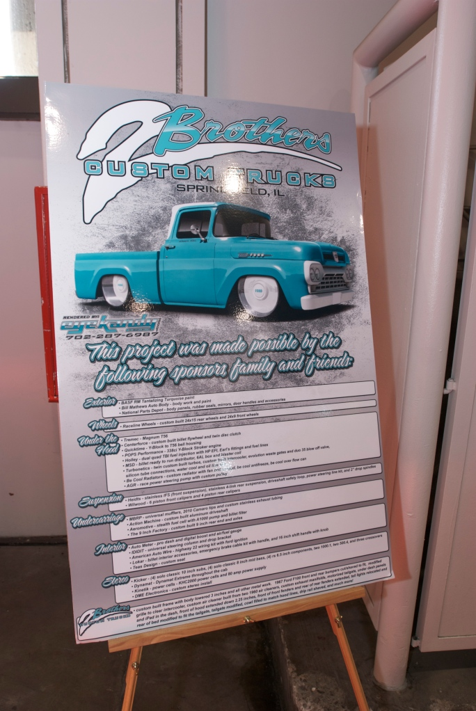 2 Brothers Custom Trucks, F-100_ showcard_The SEMA Show 2011_11/4/11