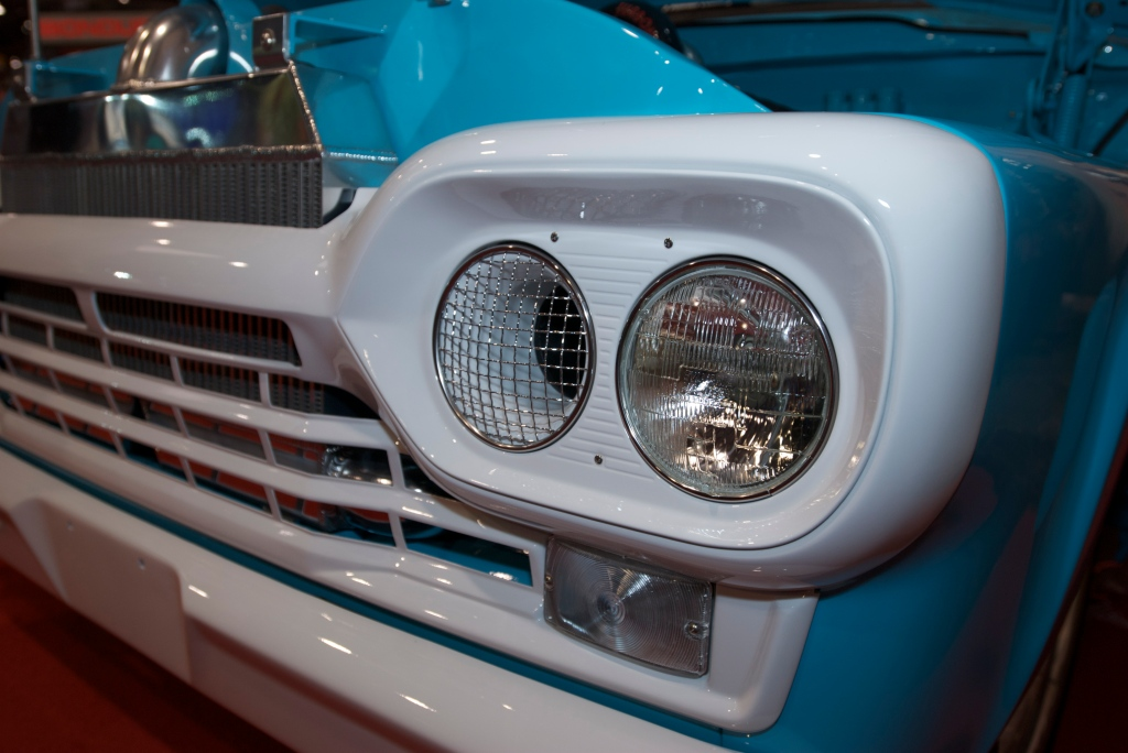 2 Brothers Custom Trucks, F-100 headlight detail_The SEMA Show 2011_11/4/11