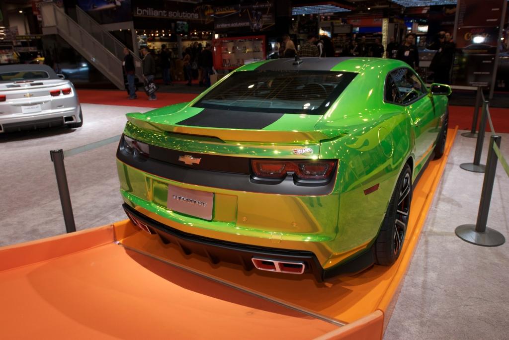 Fluorescent green Hot Wheels Camaro_Chevy display_The SEMA Show 2011_11/4/11