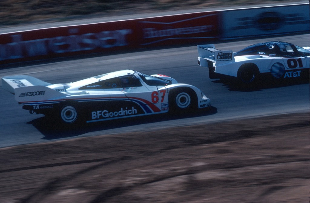 #67_BFGoodrich Porsche 962_overtaking traffic into turn 6_Riverside Raceway_April 1985