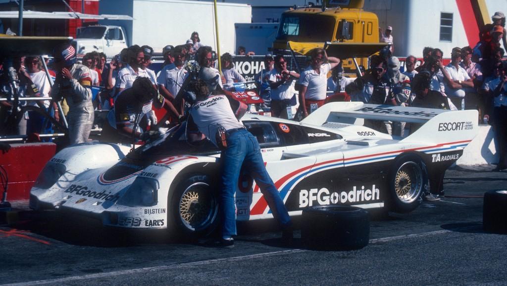#67 BFGoodrich Porsche 962 _pit stop & driver change _Riverside Raceway_April 25, 1985