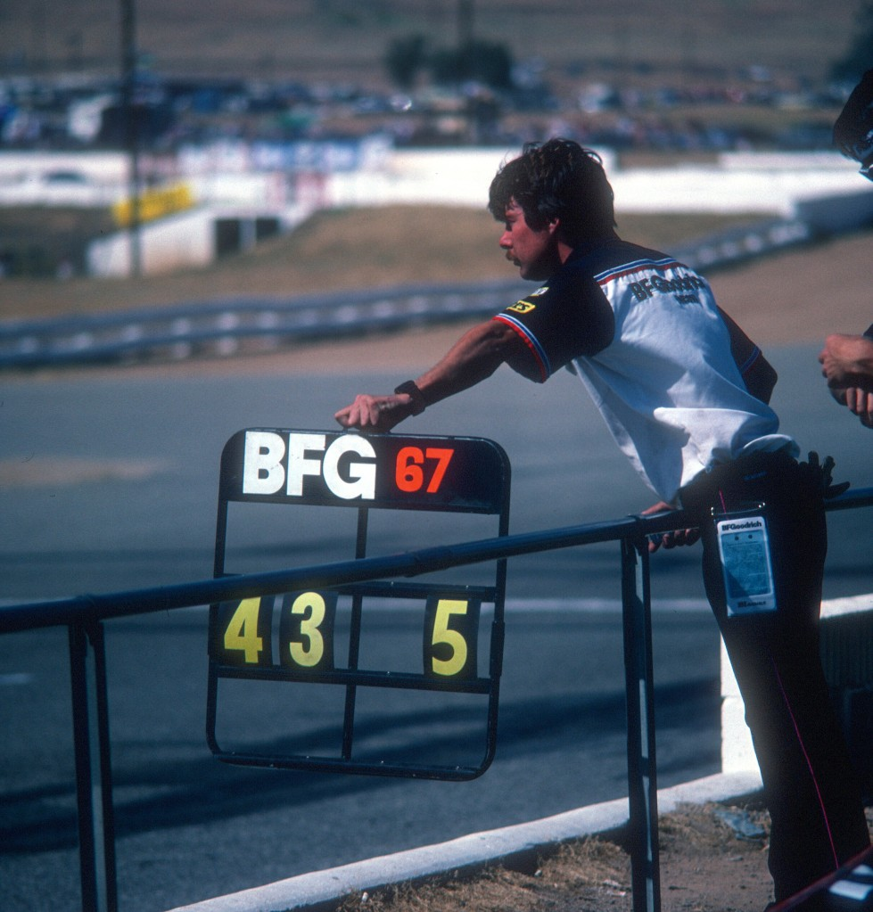 #67_BF Goodrich Porsche 962_pit board_Riverside Raceway_April 1985