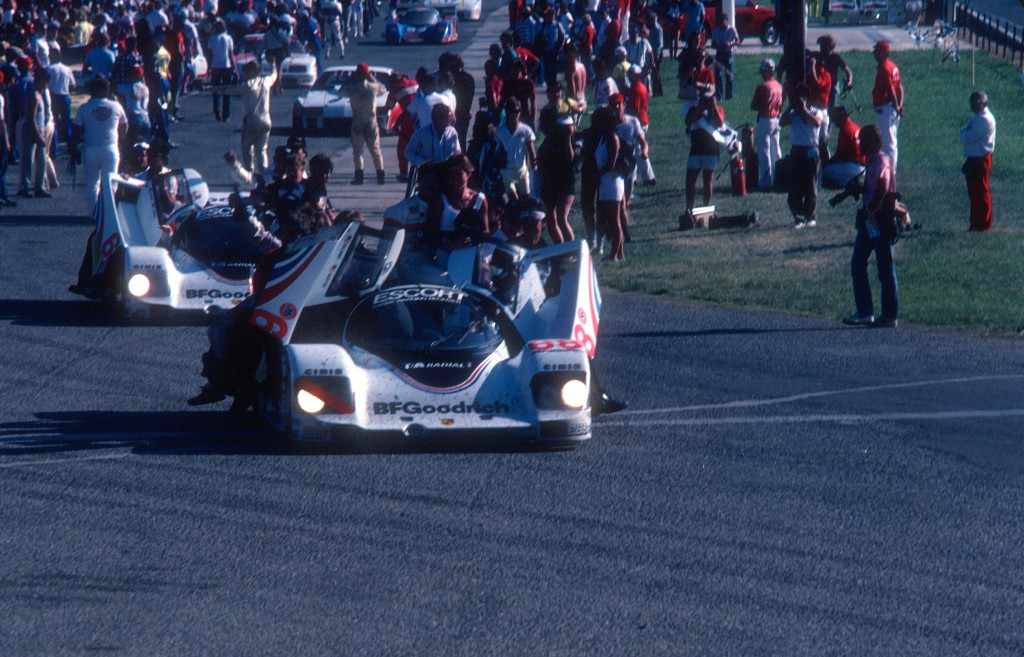Cars #68 & #67 heading to Victory Lane_Jim Busby Racing_Porsche 962's_Riverside Raceway_April 1985