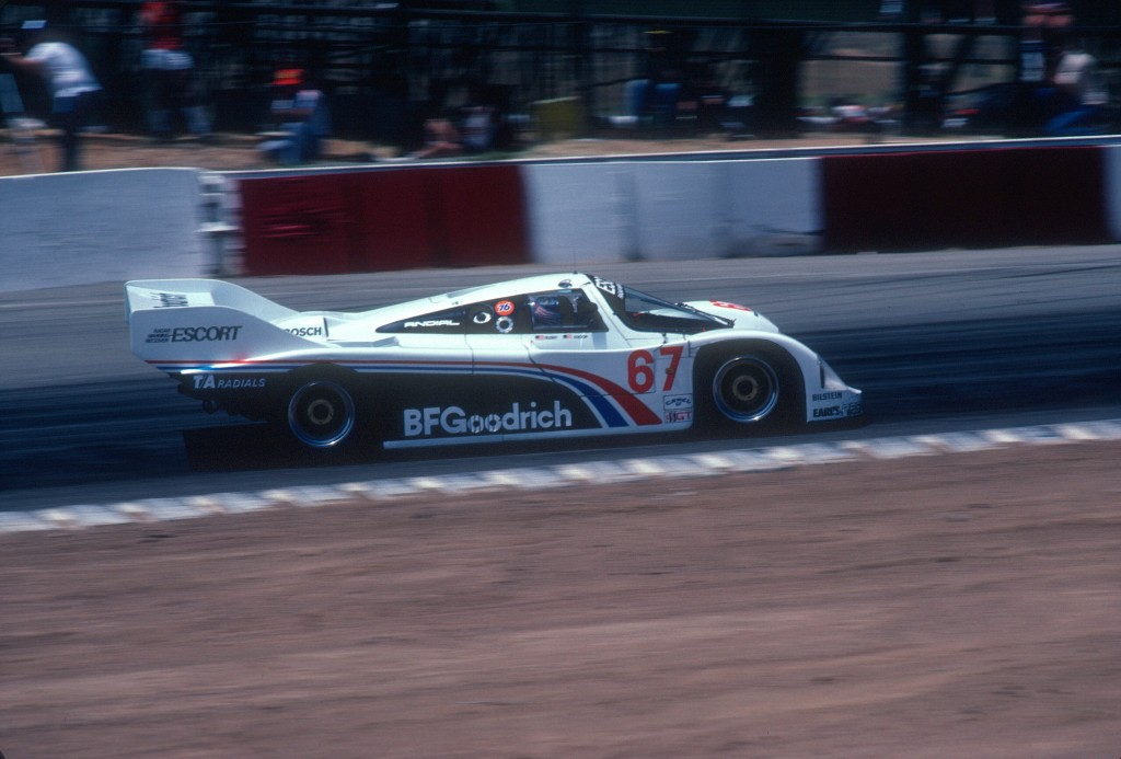 #67_Jim Busby Porsche 962_approaching turn 6_Riverside Raceway_April 1985