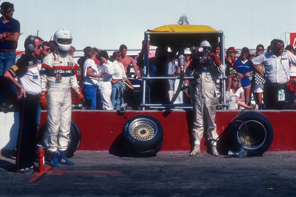 Rick Knoop & crew chief Jim Tully waiting for #67 BFGoodrich Porsche 962 to pit_Riverside Raceway_April1985