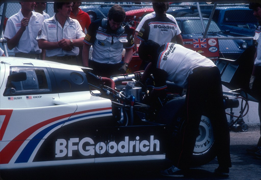 #67 Jim Busby Racing_BFGoodrich Porsche 962_practice & qualification-Riverside Raceway _April 1985