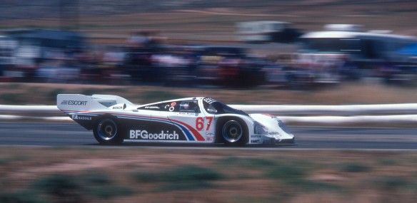 #67 BFGoodrich Porsche 962_Jim Busby at the wheel_Riverside Raceway_April 25, 1985