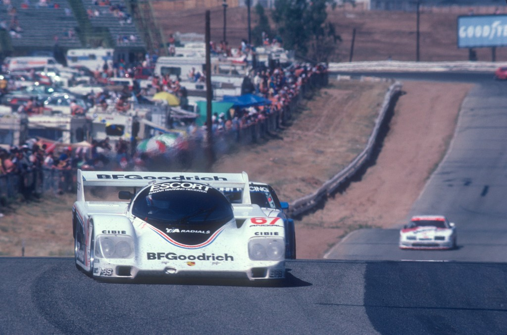 #67 BFGoodrich Porsche 962_Rick Knoop,approach to turn 7_Riverside Raceway_April 25, 1985