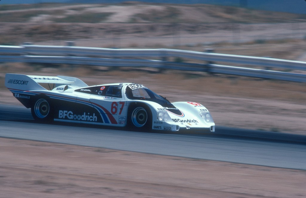 #67_BFGoodrich Porsche 962_Jim Busby Racing_back straight_Riverside Raceway_April 1985