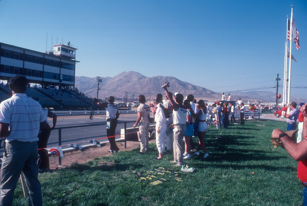 Jim Busby Racing celebrating car #67's second place victory_Riverside Raceway_April 1985