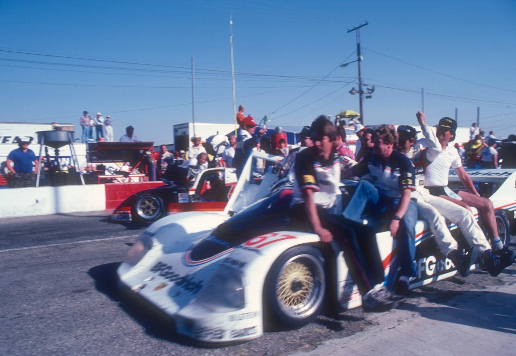 Car #67 heading to Victory Lane_Jim Busby Racing_Porsche 962_Riverside Raceway_April 1985