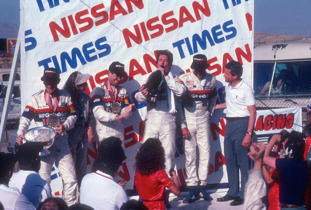 Jim Busby Racing_1st & 2nd place_#68-John Morton, Pete Halsmer,#67- Rick Knoop, Jim Busby_BFGoodrich Porsche 962_Riverside Raceway_April 25, 1985