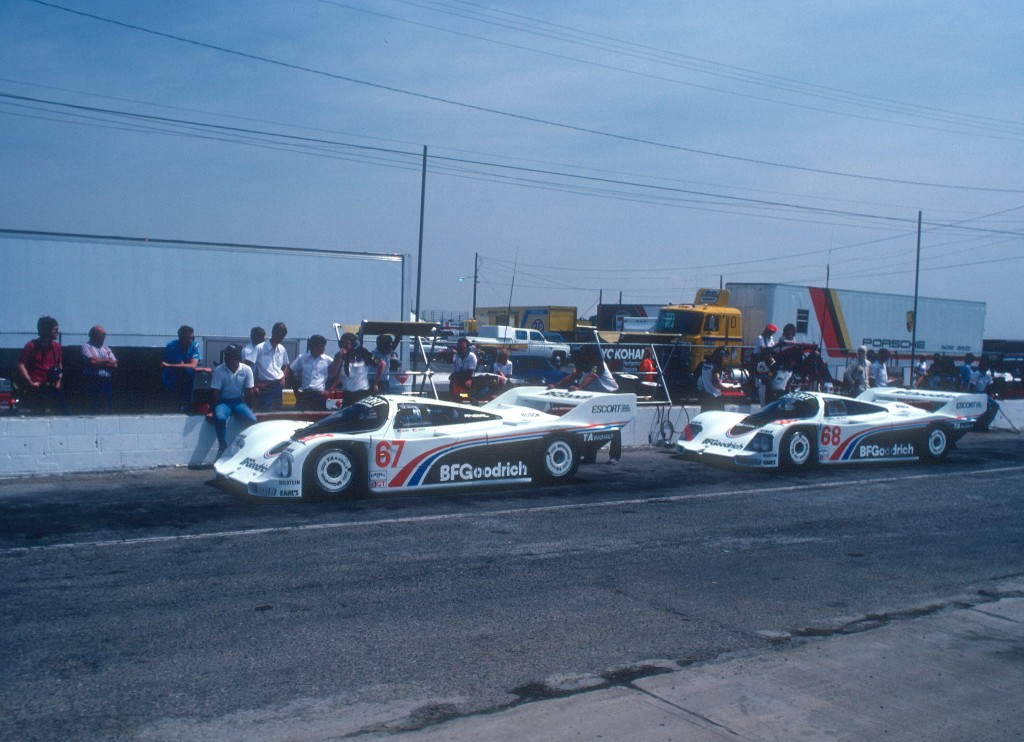 #67 & #68_ Jim Busby Racing_BFGoodrich Porsche 962's_Practice & qualifying_Riverside Raceway _April 1985