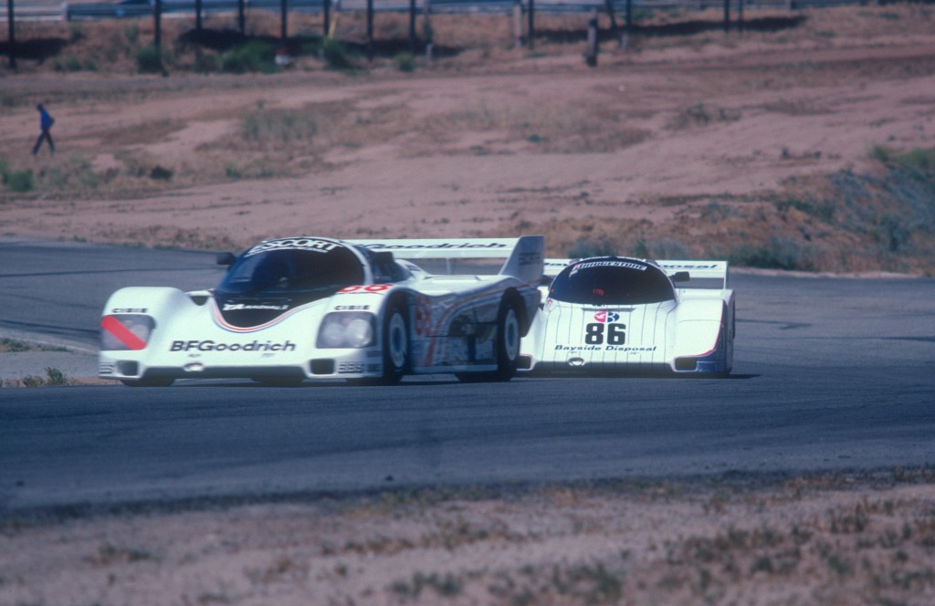 #68 BFGoodrich Porsche 962_leading #86 Bayside Disposal Porsche 962 , turn 8 _Riverside Raceway_April 1985