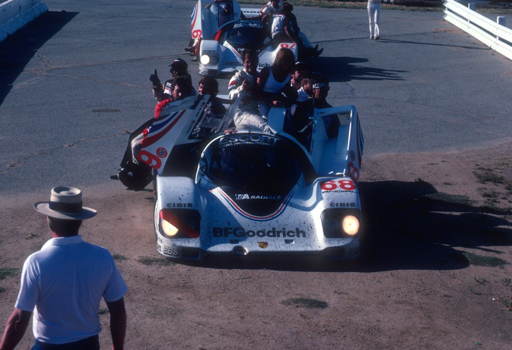 Cars #68 & #67 arriving at Victory Lane_Jim Busby Racing_Porsche 962's_Riverside Raceway_April 1985