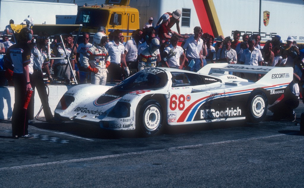 #68 BFGoodrich Porsche 962 _pit stop & driver change _Riverside Raceway_April 25, 1985