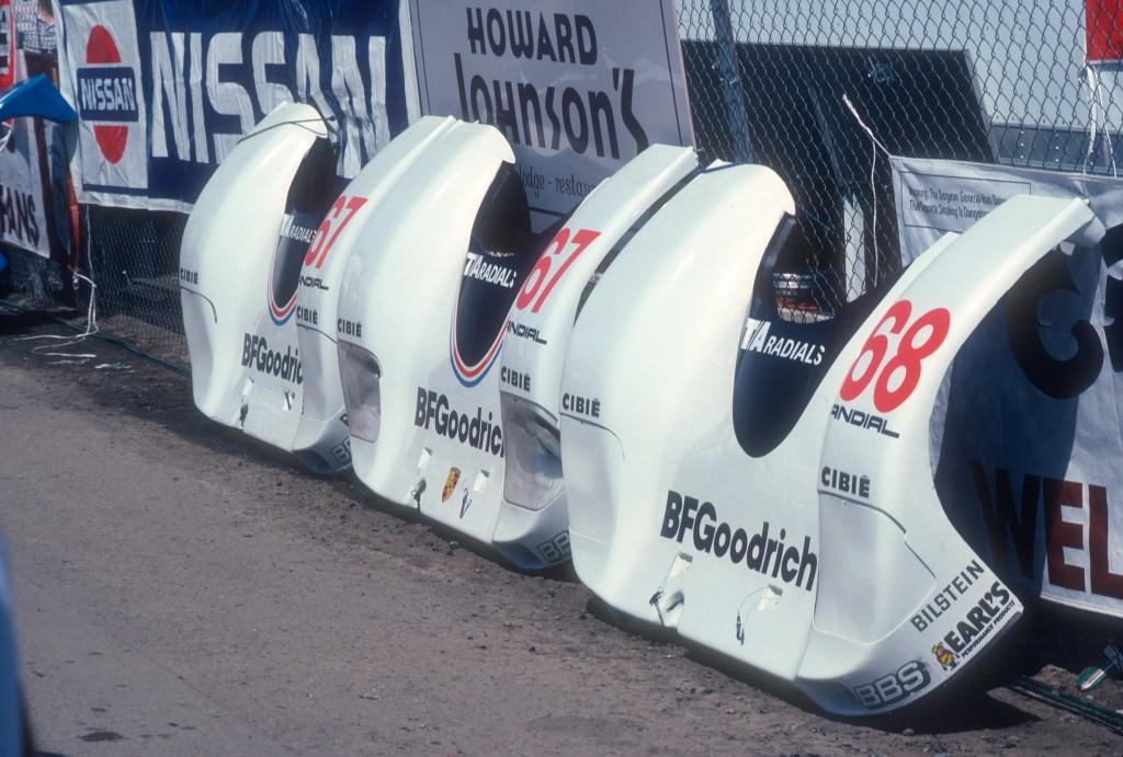 #67,#68 BFGoodrich Porsche 962 _spare front ends_Riverside Raceway_April 25, 1985
