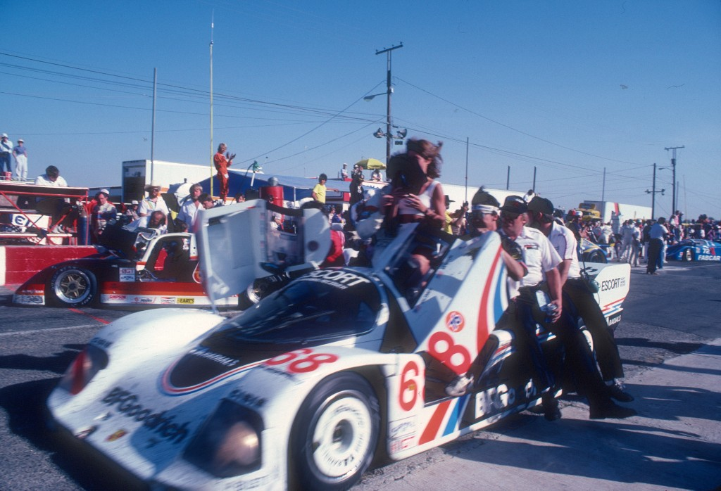 Car #68 heading to Victory Lane_Jim Busby Racing_Porsche 962_Riverside Raceway_April 1985