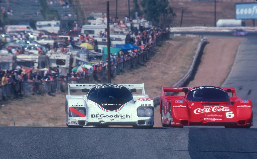 #68 BFGoodrich Porsche 962 & #5 Bob Akin Coca-Cola Porsche 962_entering turn 7  _Riverside Raceway_April 25, 1985