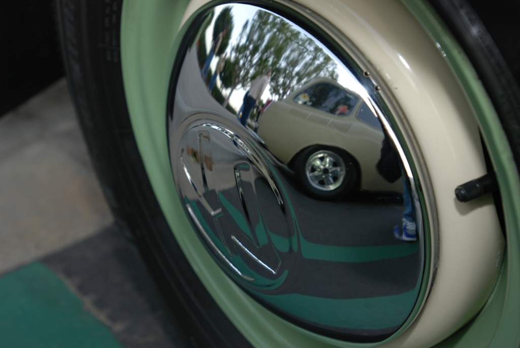 VW type 2 transporter with VW squareback reflection in wheel_Cars&Coffee/Irvine_2011