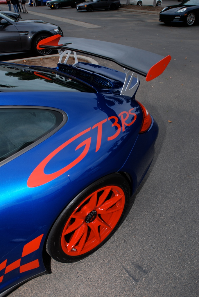 Blue w/ red accents, 2011 Porsche GT3RS_Cars&Coffee/Irvine_2011