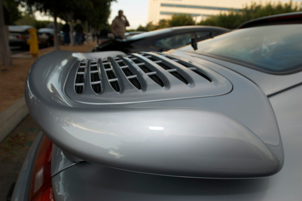 Silver Porsche 993 turbo_rear wing_Cars&Coffee/Irvine_12/17/11