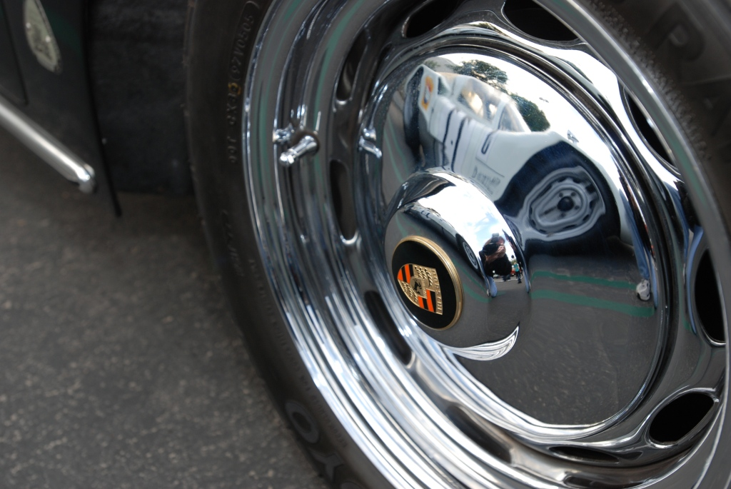 Porsche 356 hubcap with 1966 Porsche Carrera 6 reflection_Cars&Coffee/Irvine_2011
