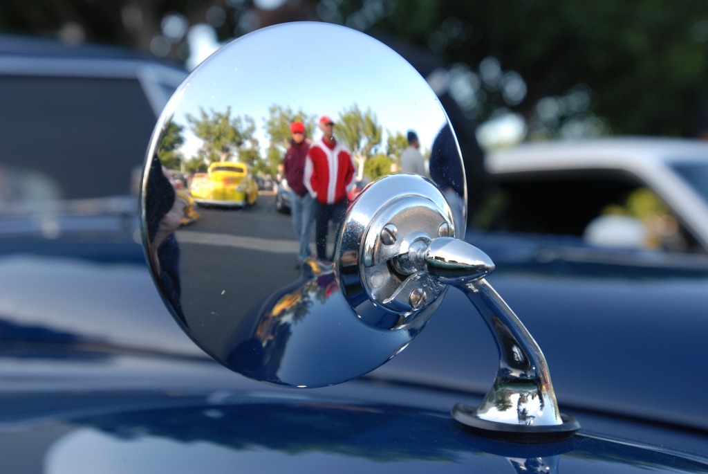 Jaguar XK fender mounted mirror with reflections_Cars&Coffee/Irvine_2011