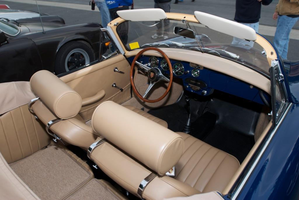 Blue Porsche 356 SC cabriolet_Interior_Cars&Coffee/Irvine_12/17/11