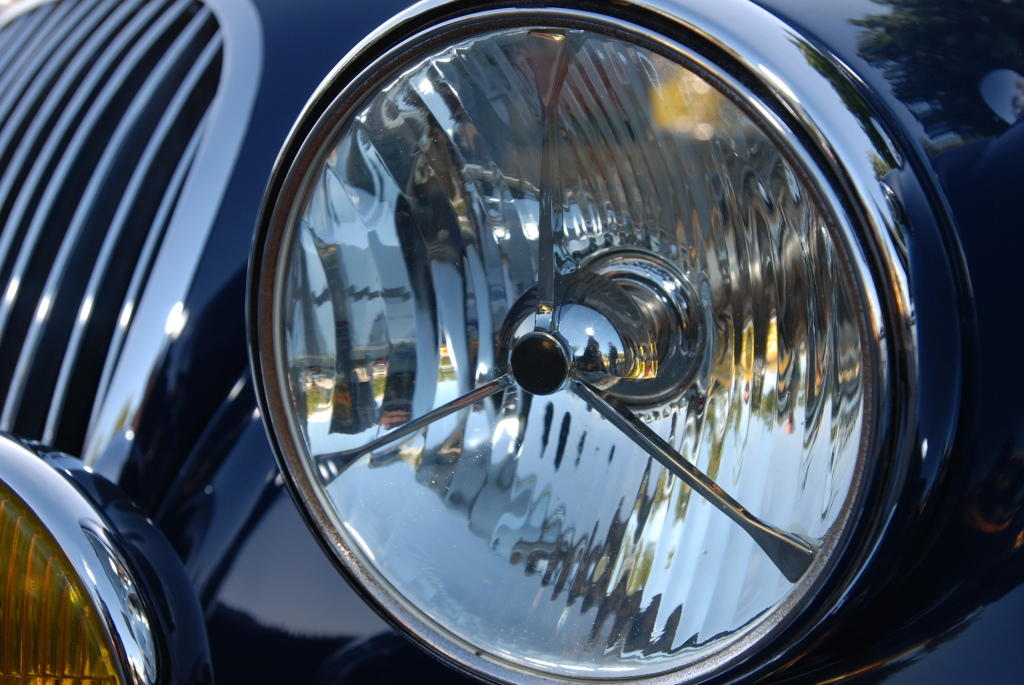 Blue Jaguar XK headlight reflections_Cars&Coffee/Irvine_2011