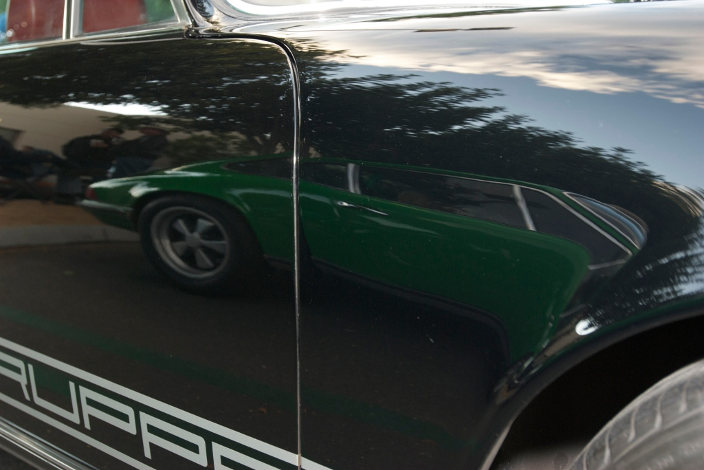 Black R GRuppe Porsche 911S_ with green 911S reflection_Cars&Coffee/Irvine_12/17/11