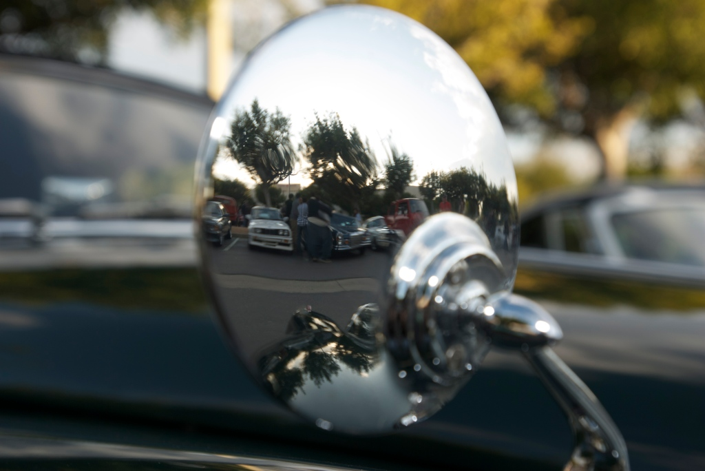Green Jaguar XK 150 roadster_ side mirror reflection_Cars&Coffee/Irvine_12/17/11