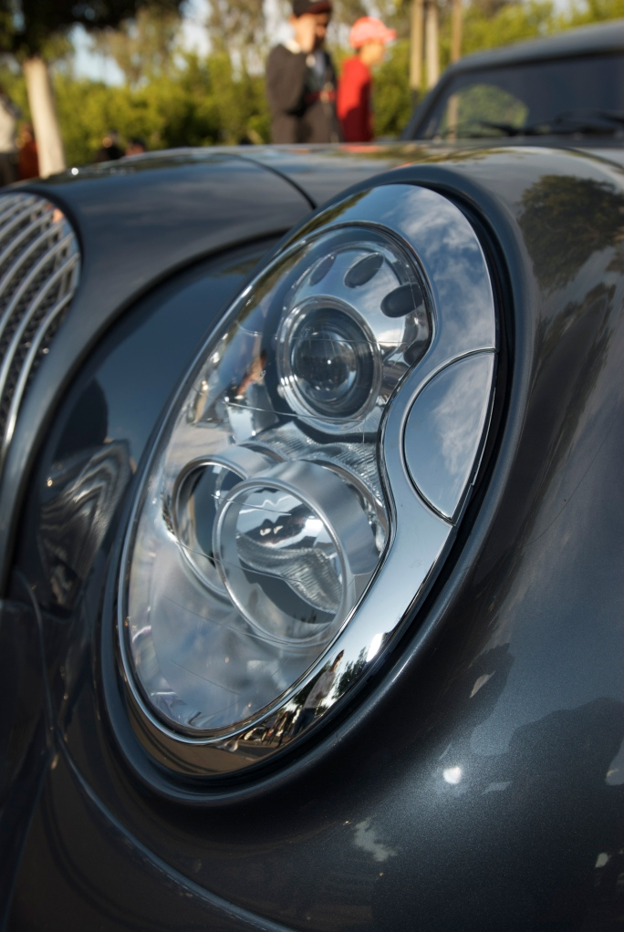 Slate blue Morgan coupe_headlight detail_Cars&Coffee/Irvine_12/17/11