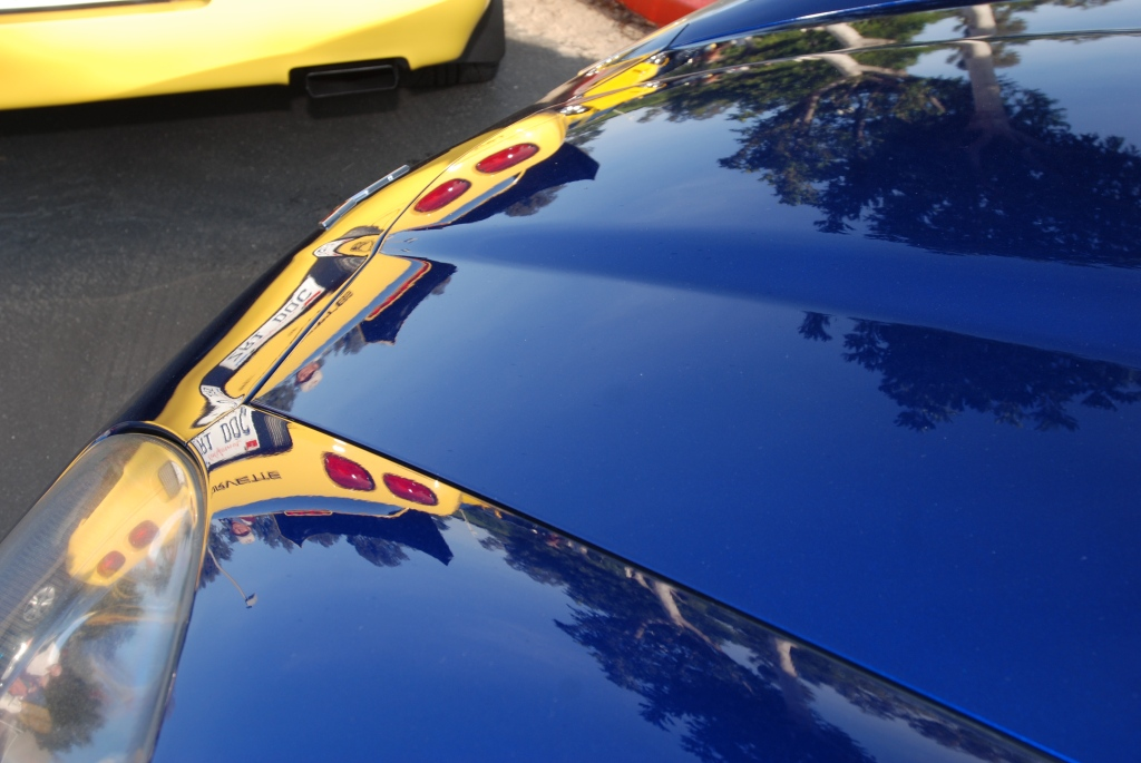 Blue Corvette Z06 with yellow Corvette reflection in hood_Cars&Coffee/Irvine_2011