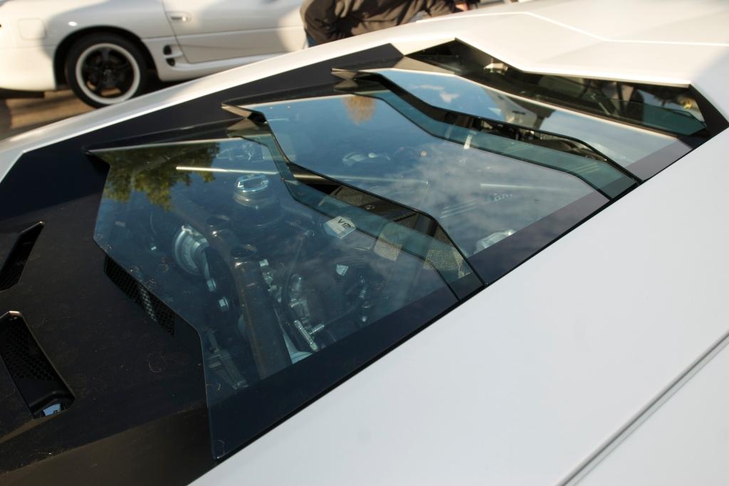 Pearlescent satin white Lamborghini LP 700-4 Aventador_glass louvers over motor_Cars&Coffee/Irvine_12/17/11