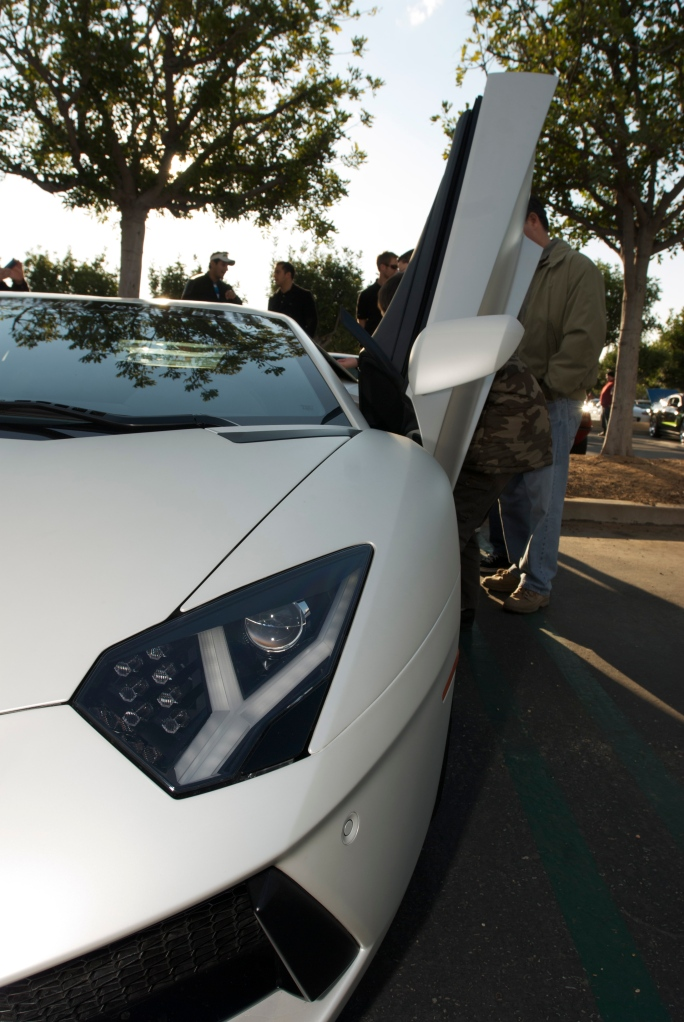 Pearlescent satin white Lamborghini LP 700-4 Aventador_headlight & door detail_Cars&Coffee/Irvine_12/17/11