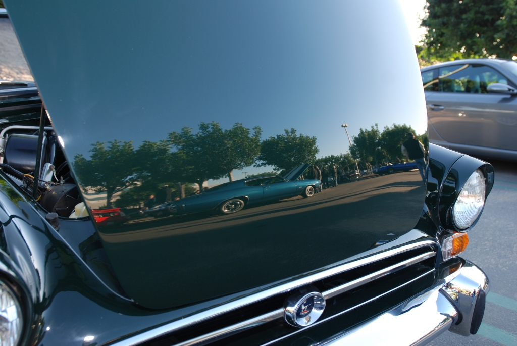 Sunbeam Tiger with Chevy Chevelle reflected in hood_Cars&Coffee/Irvine_2011