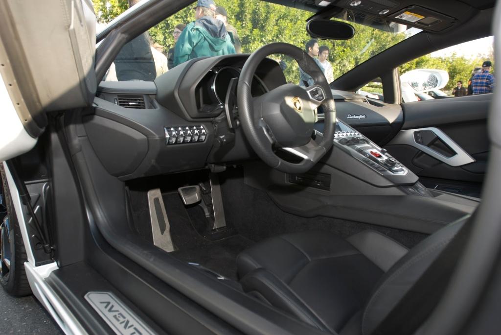 Pearlescent satin white Lamborghini LP 700-4 Aventador_Interior_Cars&Coffee/Irvine_12/17/11